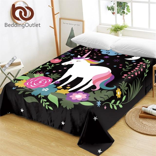 BeddingOutlet Unicorn Bed Sheets 1 Piece Cartoon Print for Kids Flat Sheet Girls Bedding Floral Bedspreads sabanas Queen King