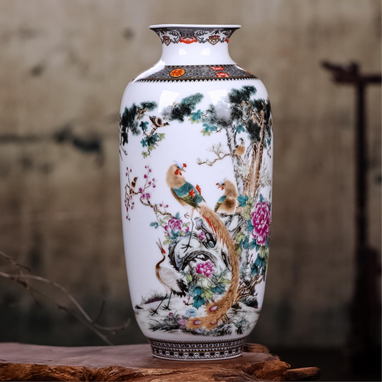 Traditional Chinese Jingdezhen Vintage Tabletop Flower Vase Flower Arrangement Decoration White Ceramic Porcelain Vase Crafts vase