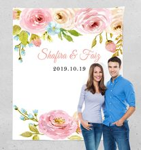 Customs Wedding Welcome Sign, Wedding Photo Backdrop,Personalized Wedding Photography Backdrop, Floral Photo Booth Backdrop(China)