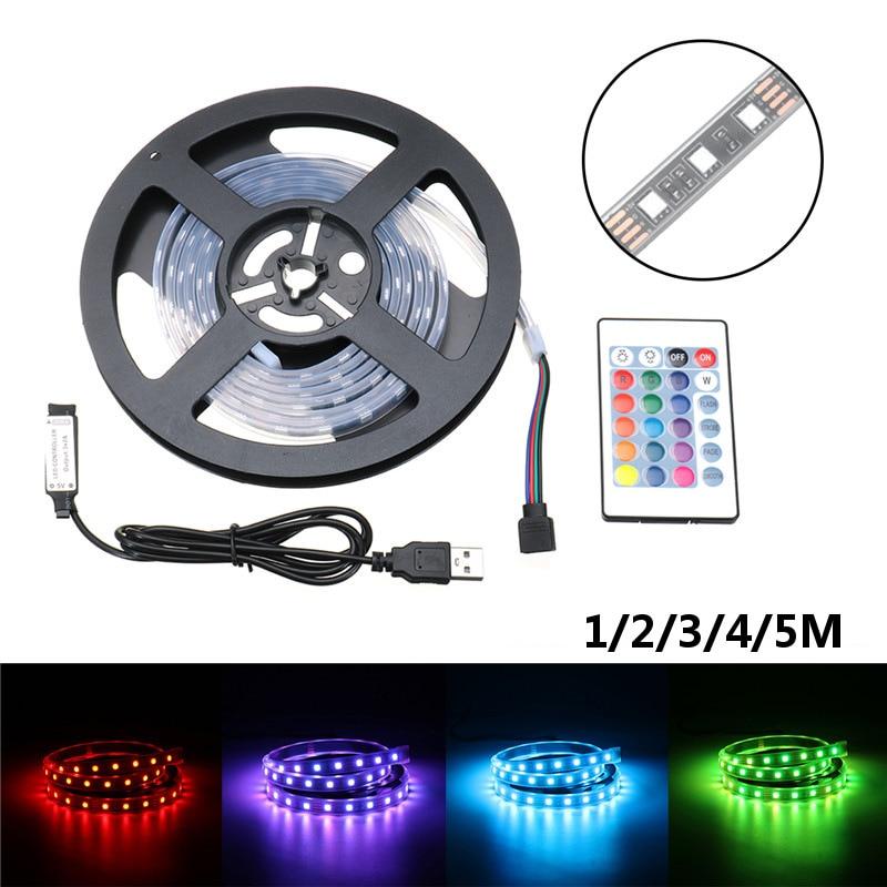 Smuxi USB LED Strip 5050 RGB Flexible Light 1/2/3/4/5M TV Background Lighting RGB LED Strip IP67 Waterproof With Controller