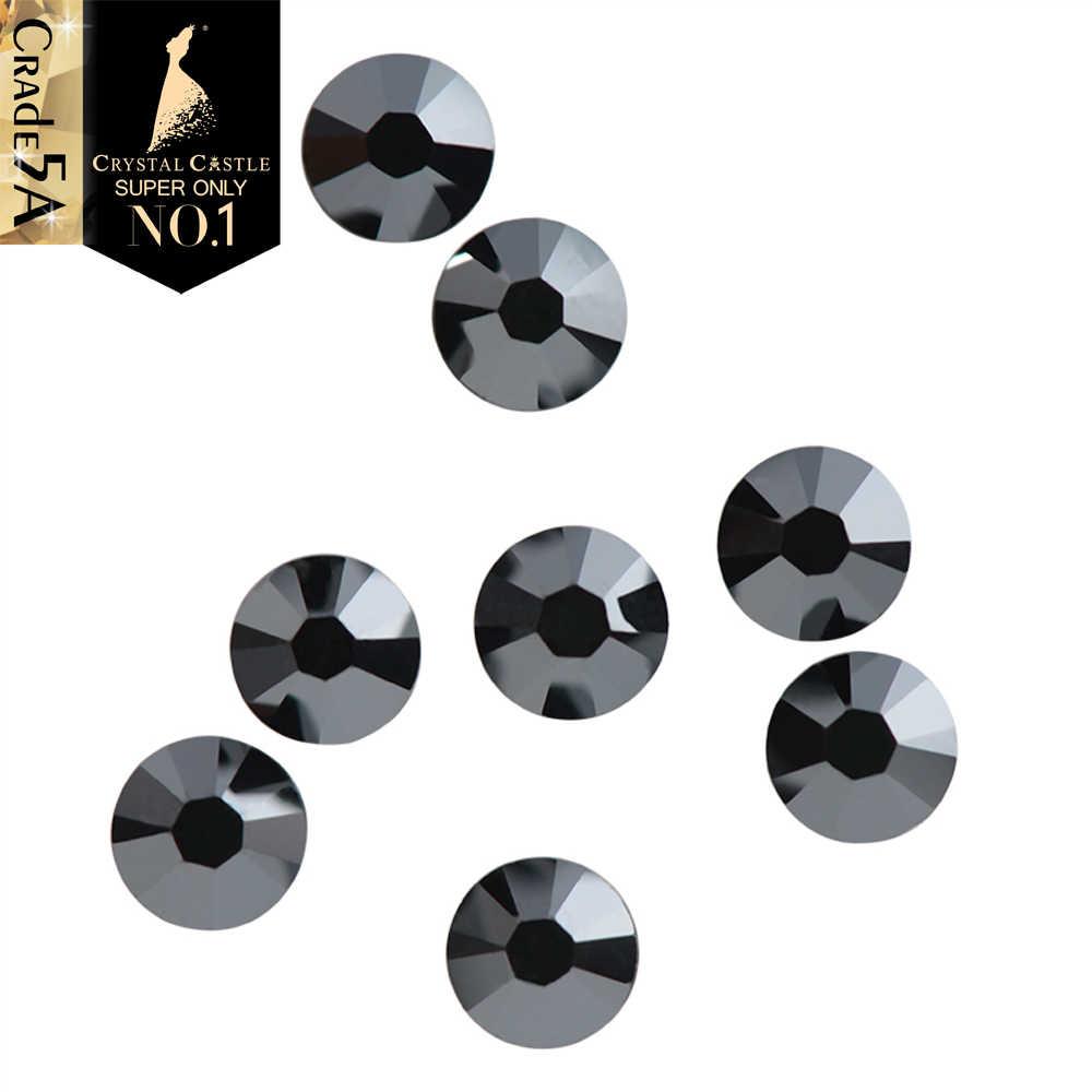 Castelo de cristal 5A Melhores Pedras de Vidro Strass Hot fix Preto Jet Hematita Cristal Labrador Alargamento Prata Hotfix Strass Para Calçados