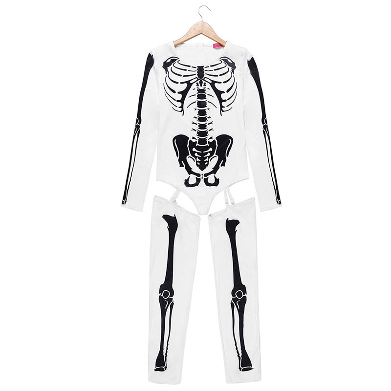 Women Halloween Jumpsuits Costumes Ghost Festival Horror Skeleton Conjoined Gowns Party Sexy Performance Rompers Cosplay Clothes (30)