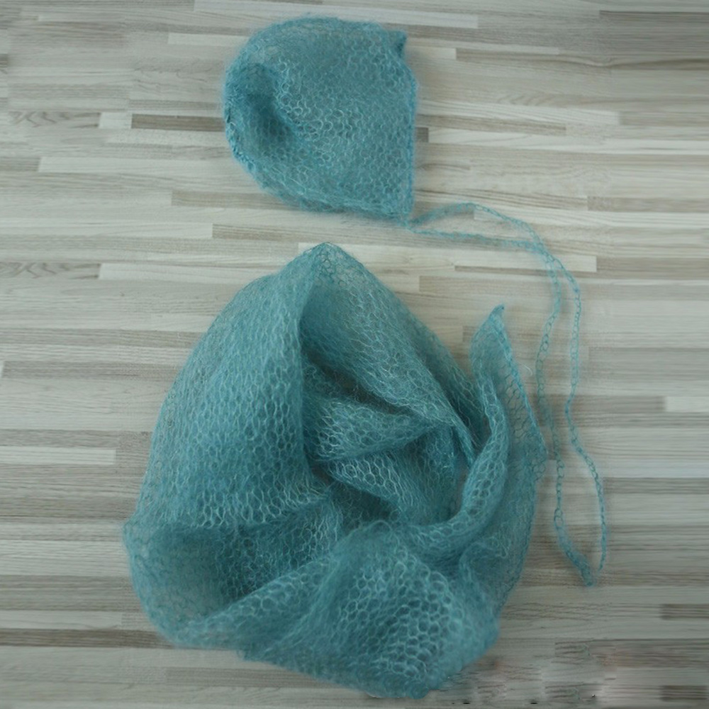 Handknit Stretch Mjuk import Little Mohair Nyfödda Wraps med hatt SET 60x30cm NEWBORN FOTOGRAFI PROPS BABY SHOWER GIFT