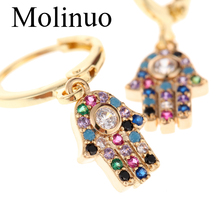 Molinuo exquisite paved Multicolor cubic zirconia evil eye hand drop earrings charm lovely girl woman dangle 2019 new
