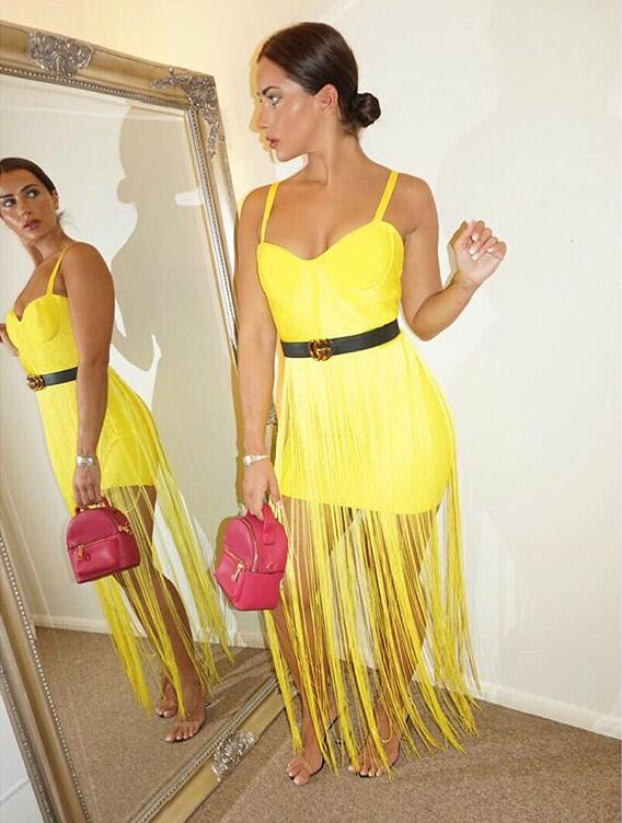 Luxury Women Sexy V Neck Tassel Yellow Maxi Long Bandage Dress Ladies Long Party Dress Cocktail Club Night Party Dresses L-305