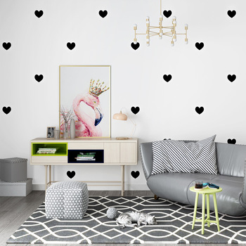 Cute fashion love heart wallpaper minimalist black heart pink heart wall cover children's bedroom living room home wall decorate heart
