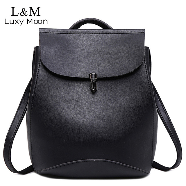 3a726aaa8043 Vintage Women Backpack Small Black Backpacks for Teenage Girls Fashion  Travel Pack Bags Brown PU Leather