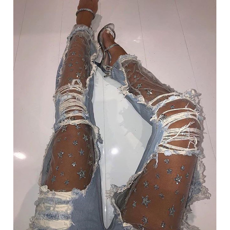 Sequin star mesh sheer denim   jeans   for women 2019 Summer fashion ripped hole   jeans   pants New arrival light blue womens   jeans