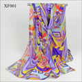 new arrival fashion design geometry print scarves women's silk feeling smooth chiffon scarf  ladies stoles soft shawl wholesale