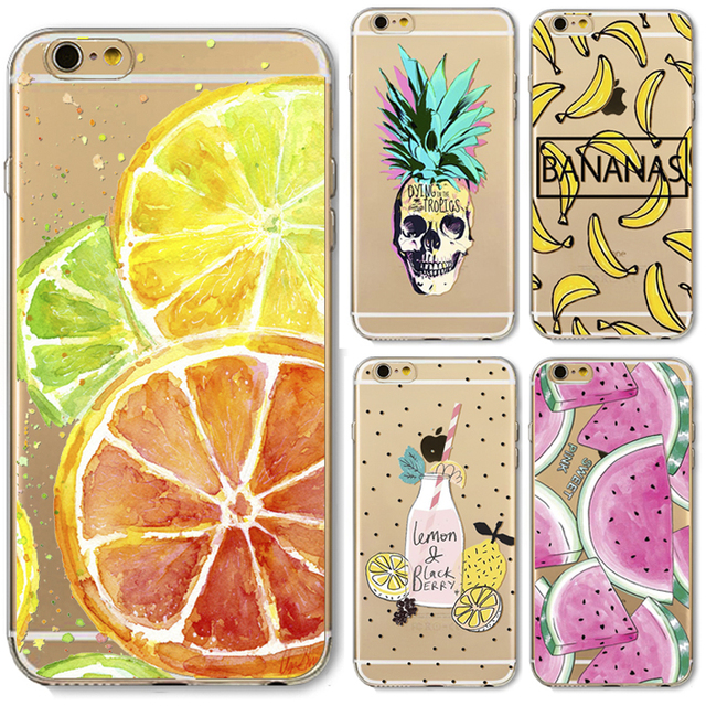 super popular cd854 61e38 US $1.69 |Pretty Fruit Pineapple Watermelon Pattern Cell Phone Case For  iPhone 5 5S SE Transparent Soft Silicone Phone Back Cover-in Half-wrapped  Case ...