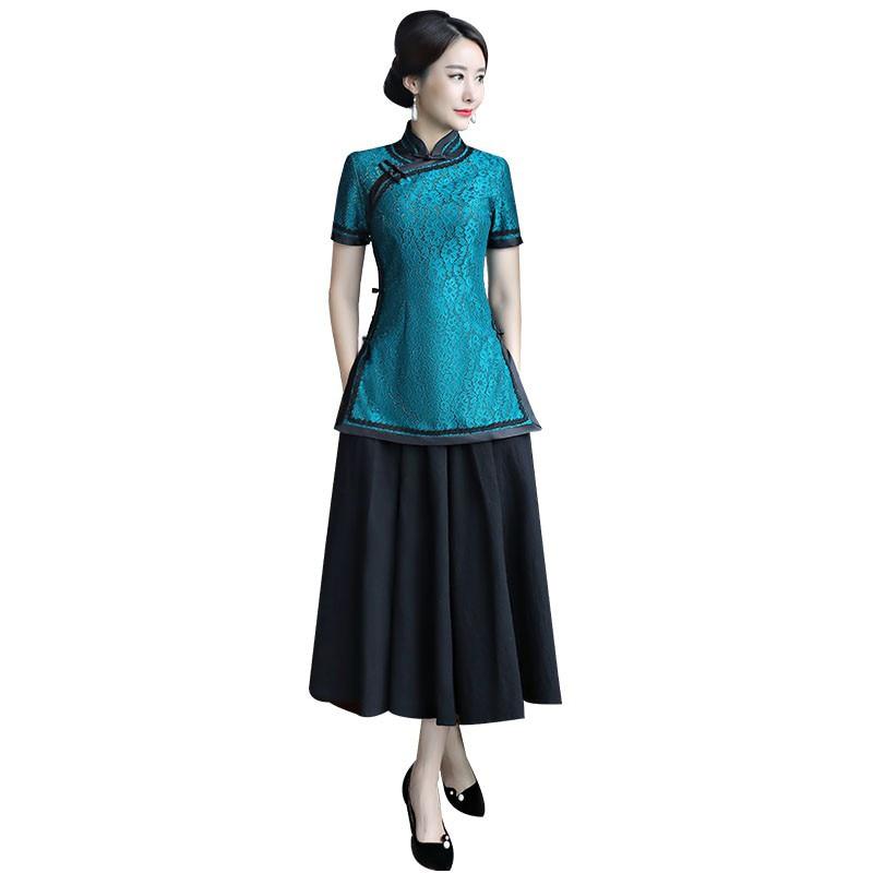 Blue Robe Mode Col Femmes Blouse 2 Manches Chemise xxxl 9969 Dentelle Pc Mandarin À Jupe Rouge light Définit Courtes Vêtements S Chinois Qipao D'été Taille rvT5IrnS