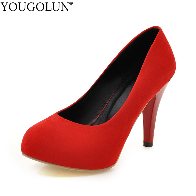 YOUGOLUN Women Pumps New Flock Elegant Office Lady High Thin Heels 9 cm Black Sexy Woman Round toe Platform Party Shoes #A-090 hot sale new fashion luxury real leather women thick heel pumps flock mix color wedding shoes woman flock sexy elegant pumps