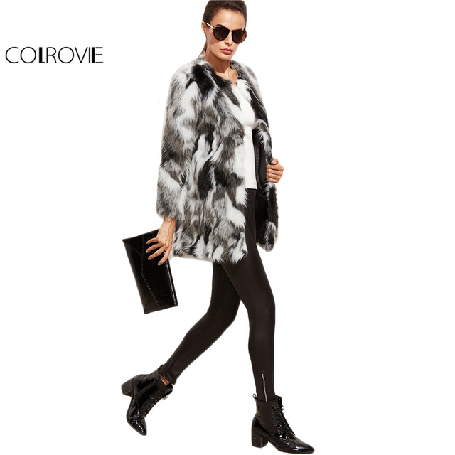 COLROVIE Faux Fur Fuzzy Coat Women Color Block Open Front Elegant Autumn Coats 2017 Fashion Winter Long Sleeve OL Work Coat