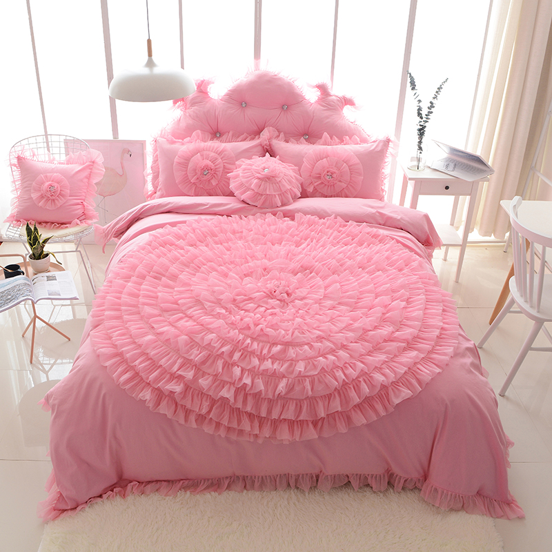 Big Lace Flower Princess Bedding Set Girls Romantic