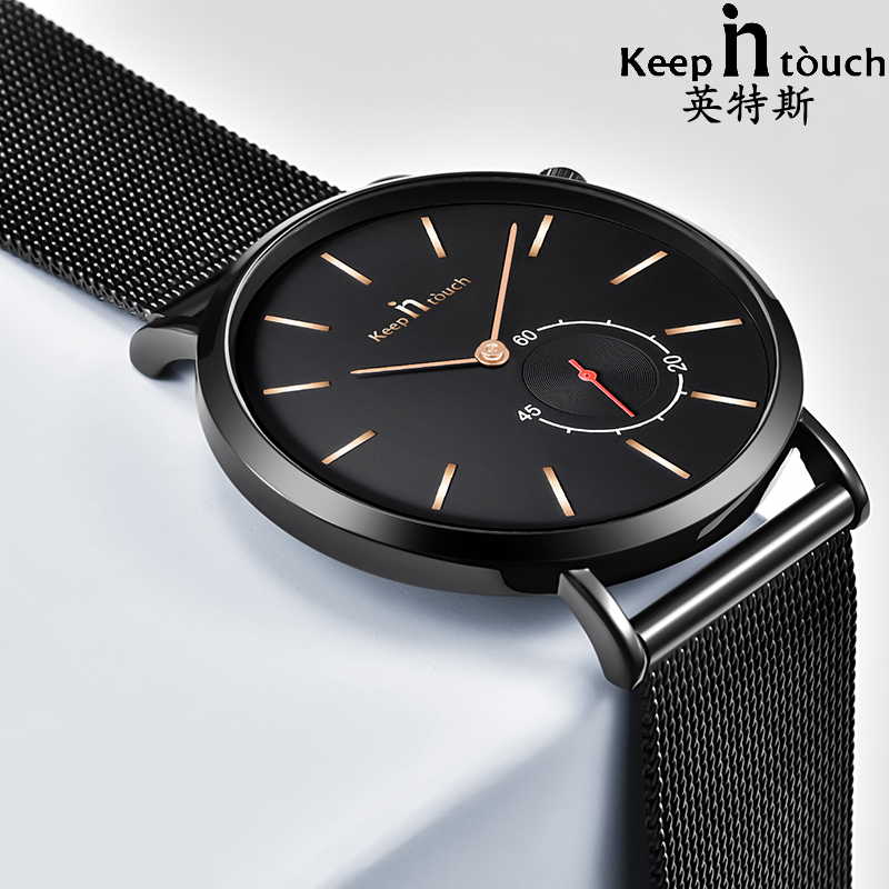 KEEP In Touch Luxury Brand Watch Men Chronograph Ultra-thin Fashion Quartz Mens Watches Mesh Stainless Steel Male Clock relojes biden men s watches new luxury brand watch men fashion sports quartz watch stainless steel mesh strap ultra thin dial date clock