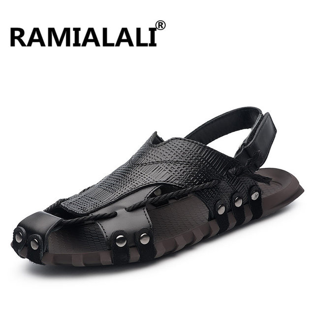 3fe64f89b Ramialali Plus Size 38-47 Genuine Leather Men Sandals Summer Breathable Sandals  Men Slippers Outdoor Casual Beach Sandal Shoes