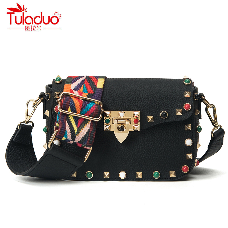 High Quality PU Leather Women Crossbody Bags Fashion Color Rivet Design Women Shoulder Bags Color Shoulder Strap Ladies Bag 2017