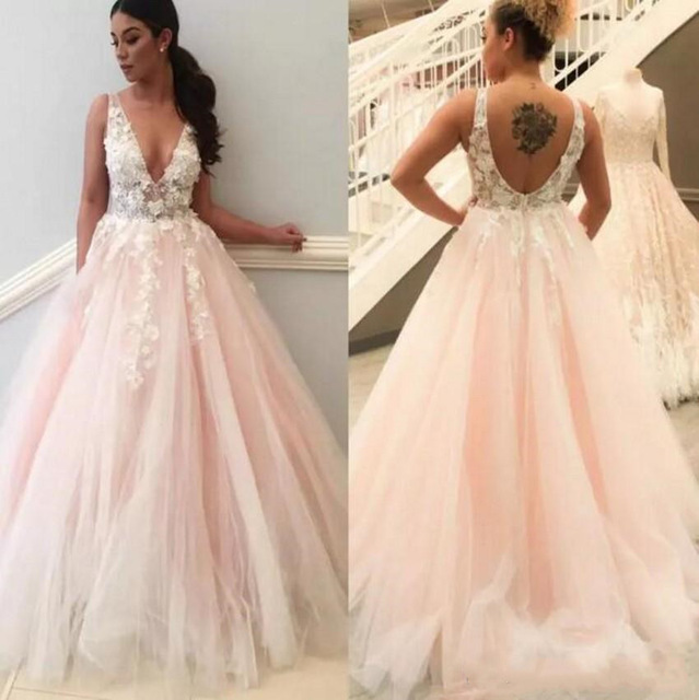 Pink Vestido De Noiva 2019 V Neck Tulle Backless Wedding Dresses Lace Appliques Bridal Gowns Sweep Train Sleeveless