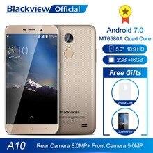 Blackview A10 смартфон 2 Гб ОЗУ 16 Гб ПЗУ MT6580A четырехъядерный Android 7,0 5,0 дюйма 18:9 экран 3G мобильный телефон с двумя sim картами