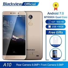 Blackview A10 Smartphone 2GB RAM 16GB ROM MT6580A Quad Core Android 7.0 5.0inch 18:9 Screen 3G Dual SIM Mobile Phone