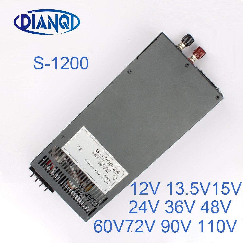 1200W 12V 72V 90V 110V adjustable Switching power supply for LED Strip light AC to DC suply S-1200 DIANQI 13.5V 15V 24V 1200w 12v switching power supply for led strip light ac to dc power suply input 110v 220v 1200w ac to dc power supply
