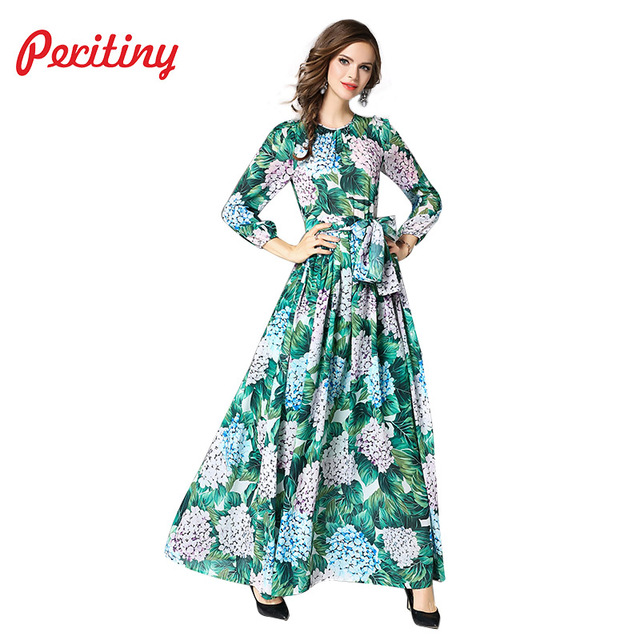 f54c8a662d9 Peritiny Women vestido longo Chiffon Dress Autumn New Style Floral Green  Palm Leaf Printed Female Slim Party Maxi Long Dresses