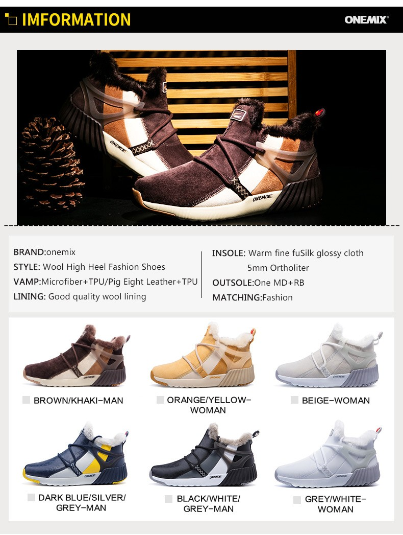 ONEMIX Winter Boots Men & Women Warm Wool Sneakers Outdoors Neutral Sports Sneakers Comfort Running Shoes Sale Size 36-45 22