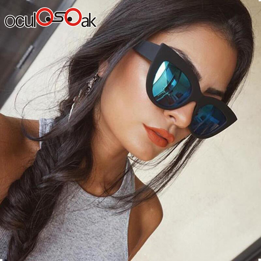 2019 Hot CatEye Pink Sunglasses Woman Mirror Shades Female Sun Glasses For Women Coating Rose Gold Luxe Brand sunglasses in Women 39 s Sunglasses from Apparel Accessories