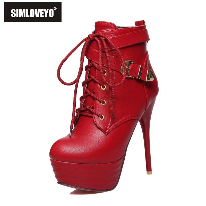 SIMLOVEYO Zipper hiver bottines dames botas femme bottie talons hauts plates-formes à lacets chaud mince talon boucle Botas A1058