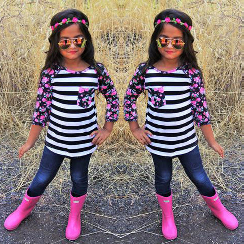 New-Fashion-2017-Family-Matching-Outfits-Patchwork-flower-Long-sleeve-Striped-T-Shirts-mother-and-daughter (2)