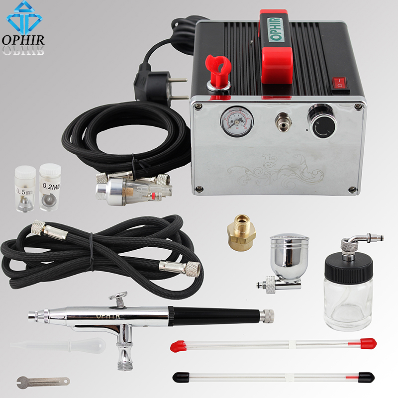 OPHIR 3 Tips Pots Airbrush Kit with Pro Air Compressor for Cake Decorating Model Hobby Paint Nail Art Air Brush Kit _AC091+074 ophir professional dual action airbrush compressor kit with air tank for cake decorating model hobby tattoo  ac053 ac004 ac070