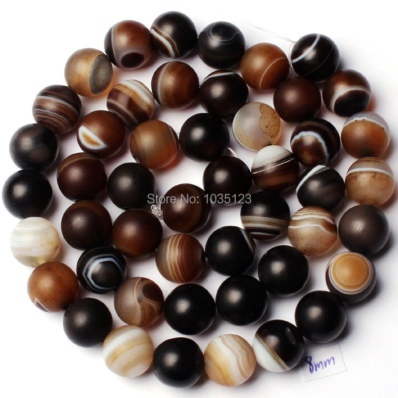 Free Shipping 8mm Natural Frosted Banded Brown Color Agates Onyx Round Shape DIY Loose Beads Strand 15 Jewellery Making w1780