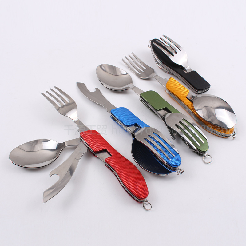 Camping Portable Folding Tableware Knife And Fork Spoon