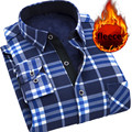 Casual Men Shirt 2016 New Arrival Men's Plaid Shirts Winter Fleece Thick warm Spliced Dress Shirts Long sleeve camisa masculina