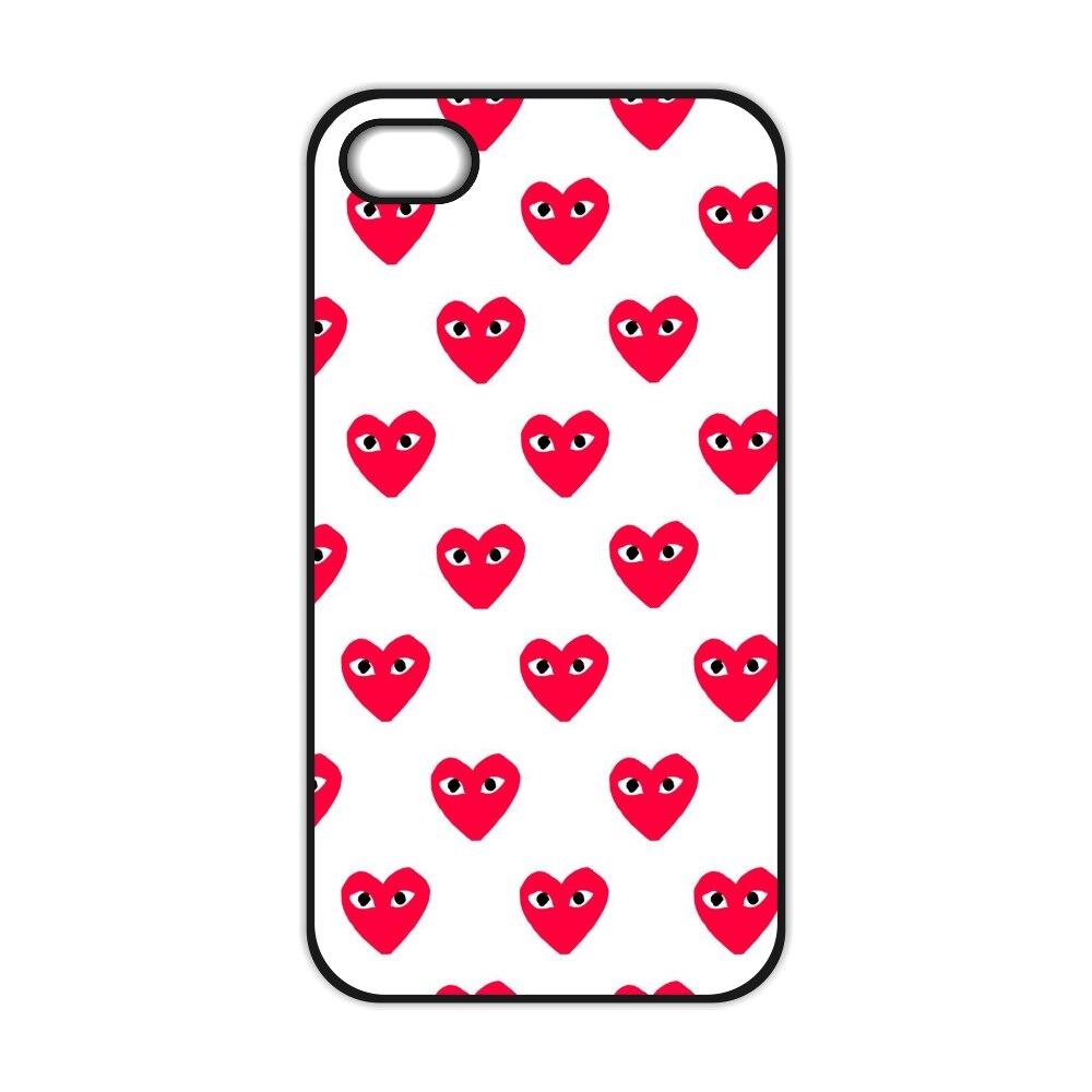 Comme Des Garcons Heart Plastic Cover Case for iPhone 4 4S 5 5S 5C SE 6 6S 7 8 Plus X 10