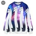 [Aisan size] Harajuku women sweatshirts cat 3D printed  hoodies funny galaxy space sweatshirt sudaderas tops clothes Casual Suit