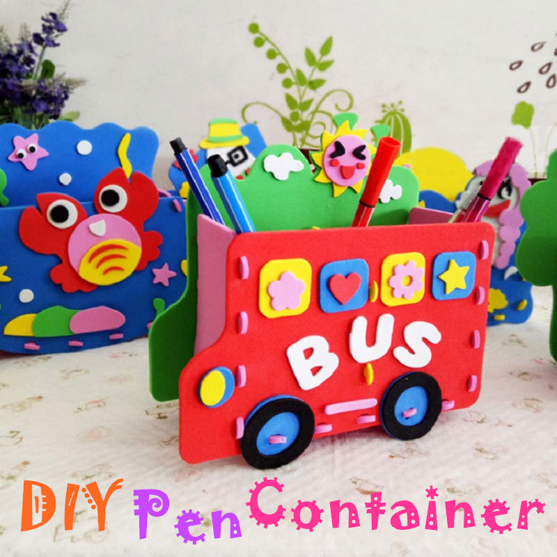 Kids DIY Cartoon Pen Container Children Arts& Crafts Kits Kids DIY Handmade EVA Material Kindergarten Handmade Toys Kids Gifts
