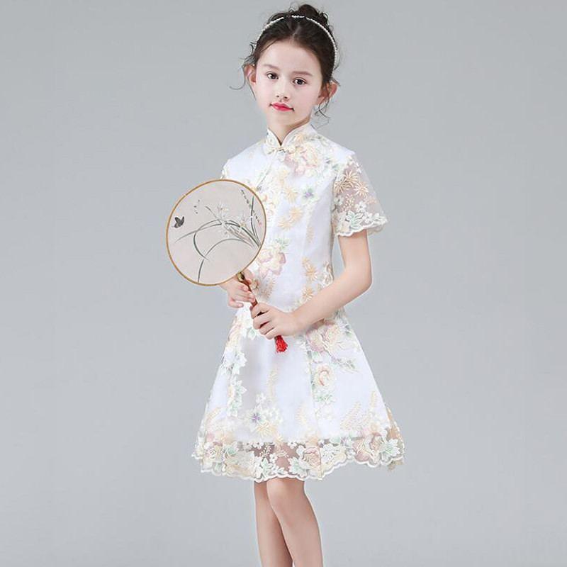 Adolescente Style chinois broderie Cheongsam robe de princesse enfants robes pour filles fête de mariage bébé fille vêtements Vestido F102
