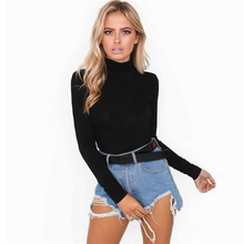 2018 New Spring Autumn Stylish Women's Long Sleeve Turtleneck Solid Bodysuit Stretch Ladies Leotard