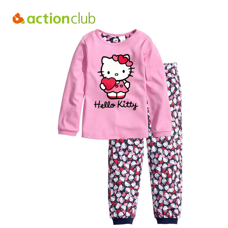 100% cotton hello kitty kids baby pajamas 2 pieces clothes sets long sleeved top lleopard pants Kids girls clothes sets New 2016 children's winter clothing sets hello kitty cat fashion pajamas baby girls clothing set KS225