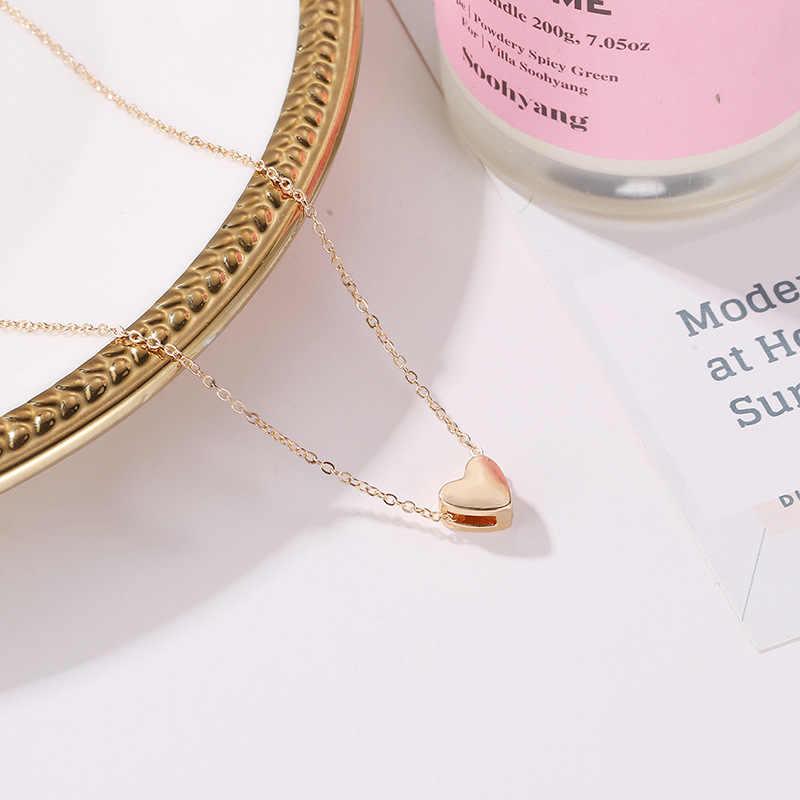 Moda brzoskwiniowe serce naszyjnik z koralików kobiety ozdoba srebrny złoty łańcuszek choker biżuteria wisiorek naszyjniki warstwowe