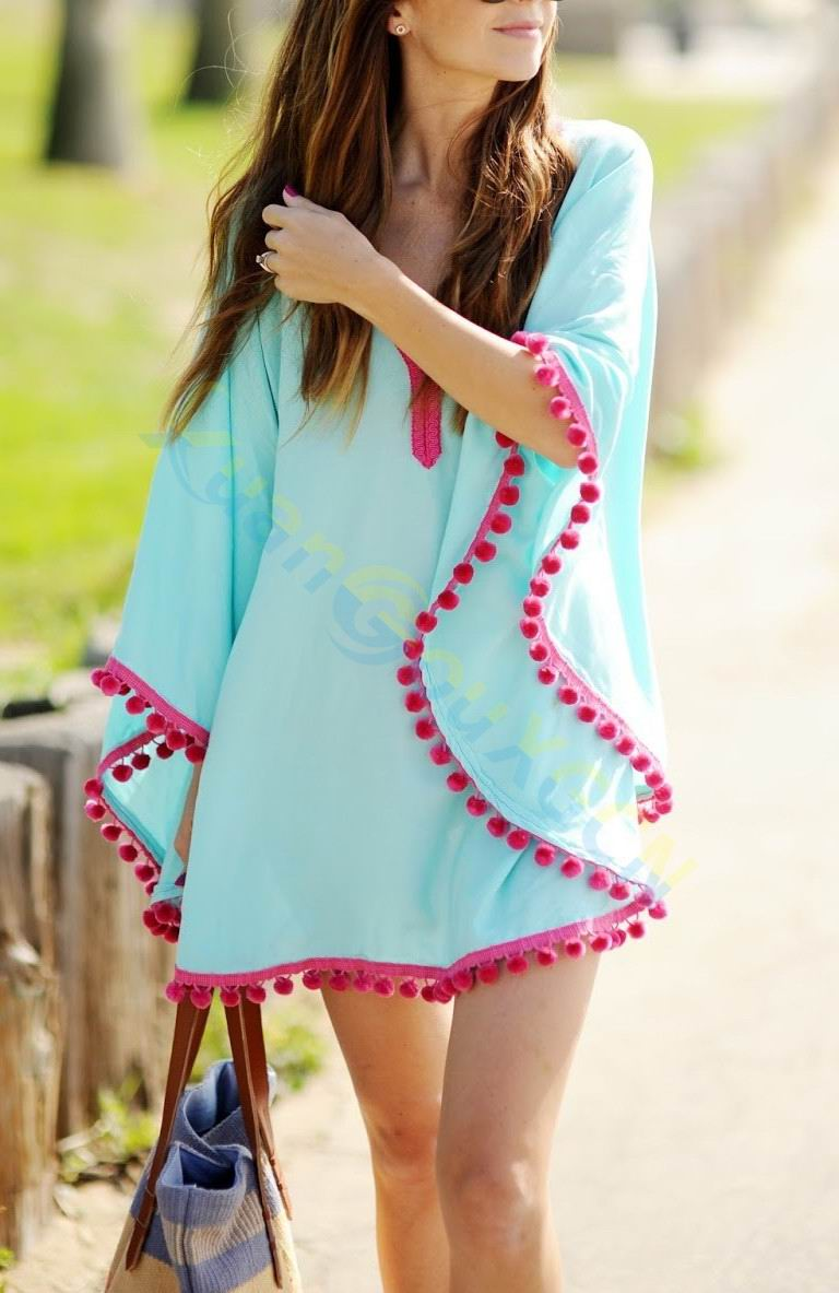 Embroidery Women Top Bikini Cover Up Beach Wear