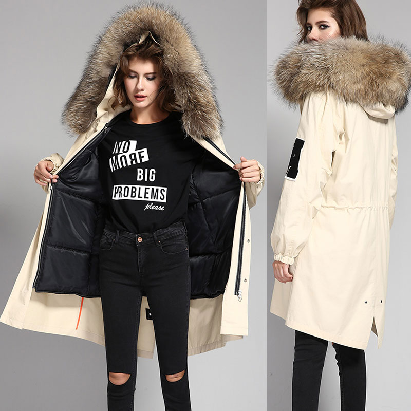 HOT Womens Winter Down Parka Long Military Fur Collar Hooded Coat Army Green NEW