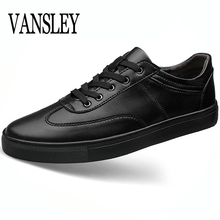 Hot Men Spring Autumn Shoes Men's Leather Shoes Black White Casual Lace Up Loafers Leather Men's Flats Oxford Shoes Big 35-49