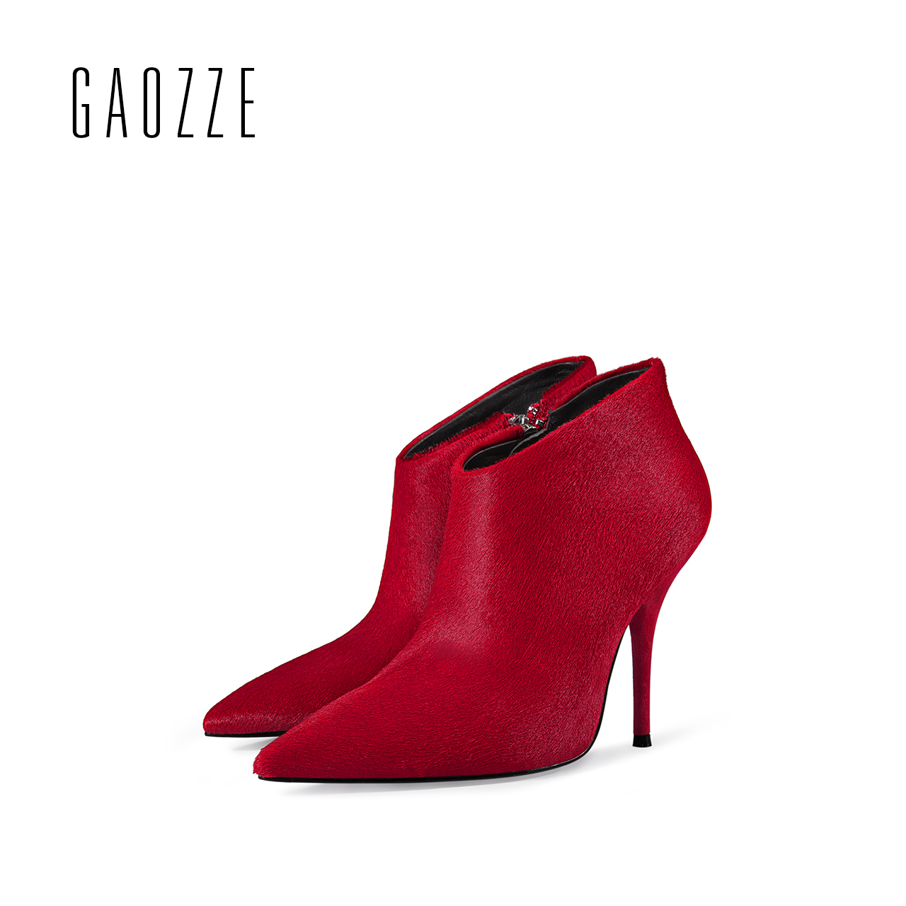 GAOZZE autumn ankle boots for women 2017 new Sexy thin high-heeled boots women side zipper fashion pointed toe shoes red boots holika holika holika holika ho009lwelh81