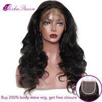 250% высокой плотности объемной волны парик Синтетические волосы на кружеве человеческих волос Парики бразильского парик Remy отбеленные узлы