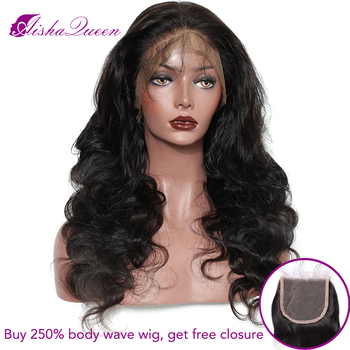 250% High Density Body Wave Wig Lace Front Human Hair Wigs Brazilian Remy Wig Bleached Knots Pre Plucked for Black Women