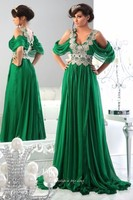 2016 Kaftans Prom Gowns Crystal Formal Dress Beads A Line Floor Length Chiffon Long Arabic Emerald
