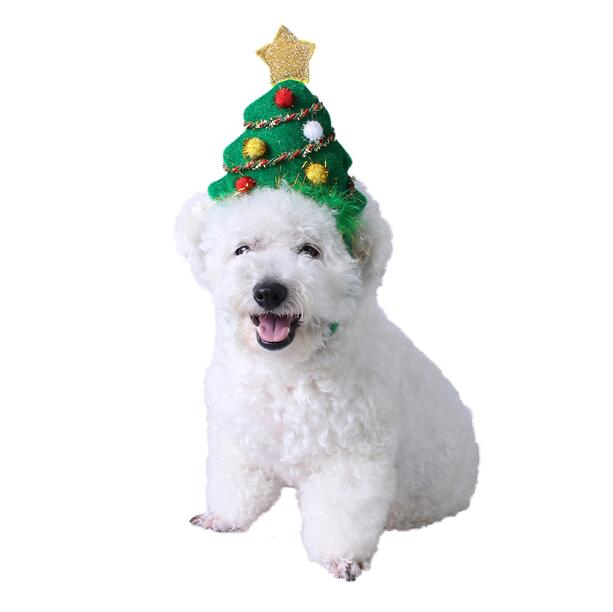 A large and medium-sized golden retriever's Christmas tree is decorated with a small deer dog heading for a headdress pet hat