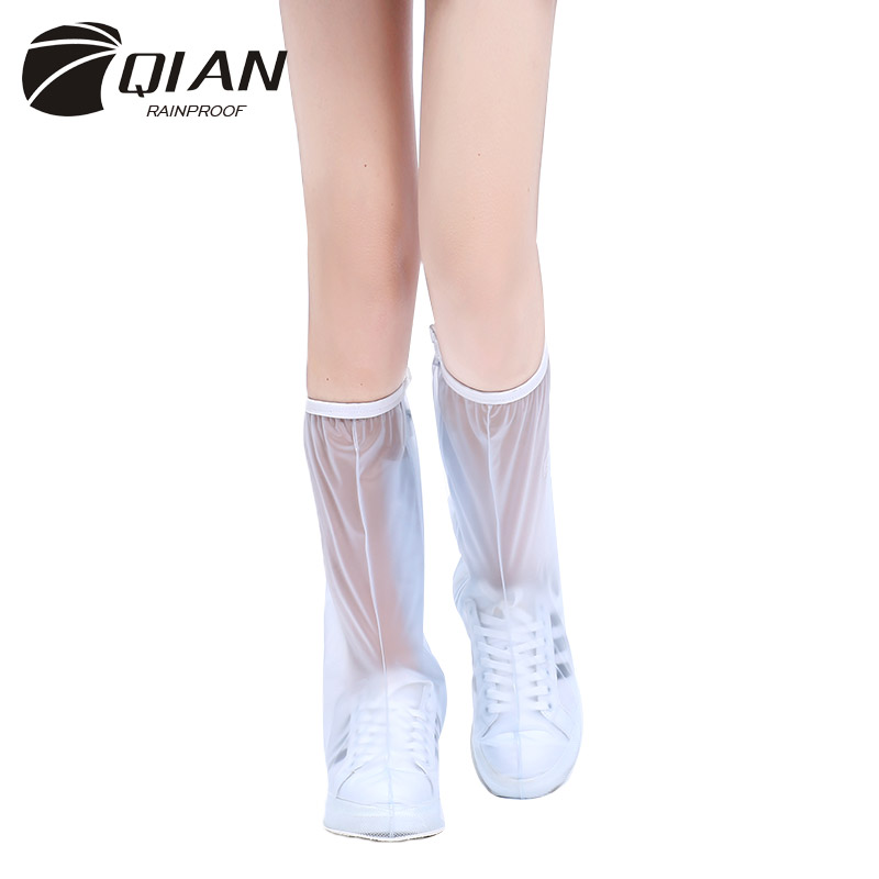 QIAN Waterproof High-top Rain Reusable Shoes Covers Slip-resistant Zipper Men Rain Boots Overshoes Men&Womens Shoes Accessories